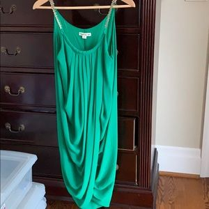 Dress. Green. Size small. Draped front.  Lined